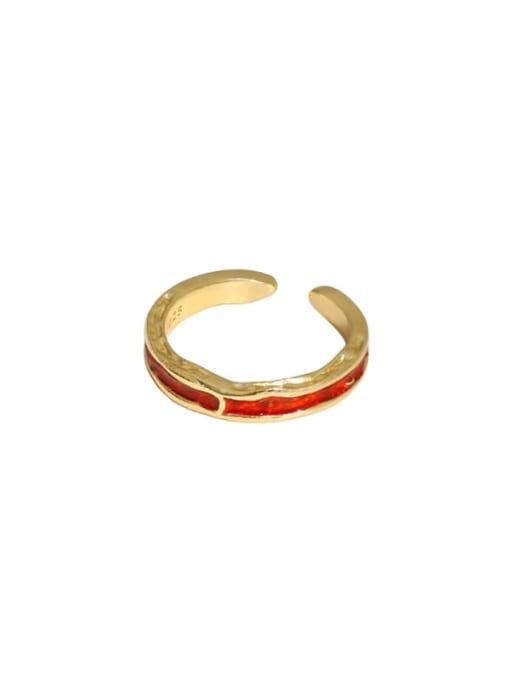 18K gold [red] 925 Sterling Silver Enamel Irregular Vintage Band Ring